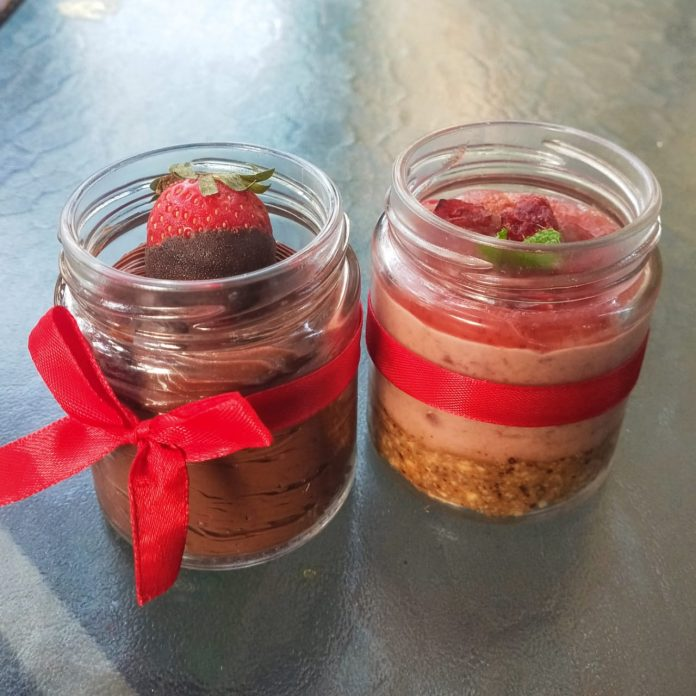 Justbe Resto Cafe - Cranberry Cheesecake & Chocolate Mousse in jars